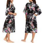 Kimono Robe de Chambre Longue Imprimé - Chemise de Nuit Soie Artificielle Paon Fleur - Beaucoup de Couleurs de la marque FEOYA image 2 produit