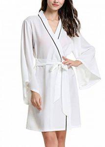 Kimono Robe Femmes, Femmes Chemises de Nuit, Soyeux Robe Peignoir en Satin de Soie Robe de Nuit de Demoiselle d'honneur Pyjamas, Manches Longues Chauve-Souris Style Court de la marque YAOMEI image 0 produit