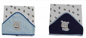KING BEAR Lot de 2 capes de bain avec capuche en éponge maille, capuche brodée de la marque king-bear image 0 produit