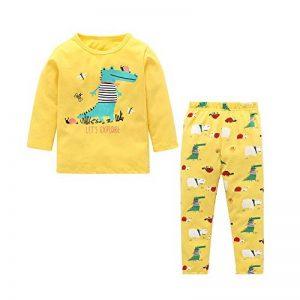 KUKICAT Pyjamas Enfant Service d'impression à Domicile Unisexe, Ensemble de Deux Pièces à Manches Longues à Col Rond avec Motif Dinosaure Sleepwear de la marque KUKICAT image 0 produit