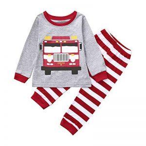 KUKICAT Pyjamas Enfant Service à Domicile à Col Rond, Motif de Voiture de Bande Dessinée + Pantalon Rayé Deux Pièces Sleepwear de la marque KUKICAT image 0 produit