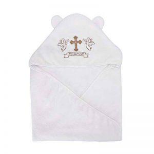 LACOFIA Serviette de Baptême à capuchon pour bébé UnisexeCouverture de Baptême,Cadeaux Personnalisés pour Garçons ou Filles,Serviette de Bain Taille 90 * 90 CM de la marque LACOFIA image 0 produit