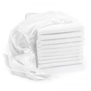 Lange bébé en mousseline de coton Lot de 10 - 80 x 80 cm, Qualité supérieure - Couleur blanc, double tissage, bordure renforcée, certifié Öko-Tex Standard 100, lavable à 90° C de la marque Makian image 0 produit