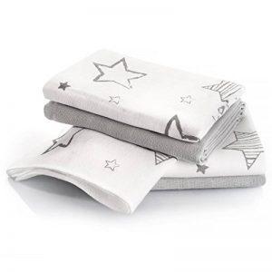 Langes bébé mousseline Lot de 4 70 x 70 cm - Qualité supérieure - Coton doux, absorbant, double tissage, bordure renforcée - Motif étoiles gris - certifié Oeko-Tex Standard 100, lavable à 60° C de la marque Makian image 0 produit