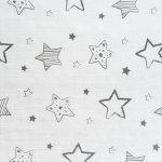 Langes bébé mousseline Lot de 4 70 x 70 cm - Qualité supérieure - Coton doux, absorbant, double tissage, bordure renforcée - Motif étoiles gris - certifié Oeko-Tex Standard 100, lavable à 60° C de la marque Makian image 1 produit
