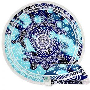 Leana Collection Serviette Plage Ronde Mandala Épaisse Tapisserie Coton avec Frange Ultra-épais Mat Yoga Hippie Tapis Beach Ete Cadeau (Bleu Etoil) de la marque Leana Collection image 0 produit