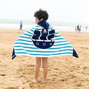 Leebaby Enfants À Capuchon Plage Serviette Couverture Coton Super Absorbant Mignon Catoon Bain Natation Serviette Cape Cape Manteau Garçon Fille Bateau Pirate de la marque Leebaby image 0 produit