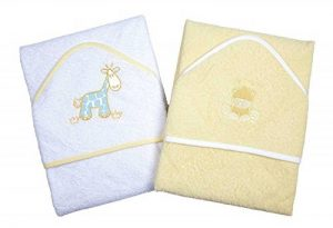(Lemon) - A Set of Two Luxury Hooded Baby Bath Towels - 100% Cotton In Pink or Blue with Cute Animal Appliques de la marque Dandelion-Clothing image 0 produit