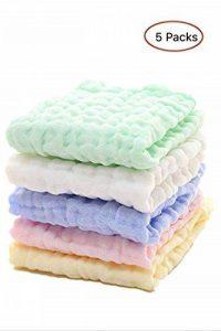 Les lingettes pour bébé en mousseline - Lingettes 100% coton naturelles pour bébé - Serviette douce pour le visage du bébé nouveau-né, pour peaux sensibles (5 PCS Pure Color) de la marque EEM image 0 produit
