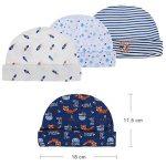 Lictin Bonnets de Naissance et Moufles de Protection - 100% Coton 4pcs Bonnets Coordonnés et 4 Paires Mitaines Scratch de Protection Anti-griffures Bébé Fille Garçon (0-6 Mois) de la marque Lictin image 3 produit