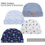 Lictin Bonnets de Naissance et Moufles de Protection - 100% Coton 4pcs Bonnets Coordonnés et 4 Paires Mitaines Scratch de Protection Anti-griffures Bébé Fille Garçon (0-6 Mois) de la marque Lictin image 1 produit