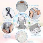 Lictin Porte-bébé ergonomique avec siège et capuche amovibles, ajustable et respirant- Porte-bébé avec 2 serviettes et 1 chaîne tétine, 6 façons de porter, pour nouveau-né et bébé de 3,5 à 20 kg de la marque Lictin image 4 produit