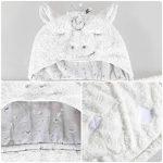 Lictin Serviette de Bain Bebe 100% Coton Serviette à Capuche Sortie de Bain Licorne Blanc pour Nouveau-Nés Ou Nourrissons Fille et Garçon 0-48 mois (75 * 75cm) avec 2pcs Coton Mouchoirs de la marque Lictin image 1 produit