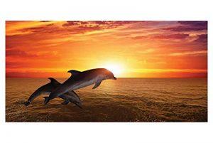 LimeWorks Drap de Bain, 70x140 cm, Motif Dauphins au Coucher du Soleil de la marque LimeWorks image 0 produit