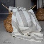 Linen & Cotton Super Douce Drap Serviette de Bain Marcus - 100% Lin Lavé, Beige Blanc Naturel (100 x 140 cm) Grande Taille Serviette d'Invité Serviettes de Toilette Douche Sauna pour Femme Homme Bebe de la marque Linen-Cotton image 1 produit