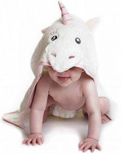 Little Tinkers World Serviette à capuche bébé Licorne | Serviette de bain en coton 100% bébé | Cadeau de fête d'anniversaire idéal | Nouveau-nés ou bébés filles | 75x75cms de la marque Little-Tinkers-World image 0 produit