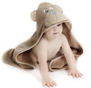 Little Tinkers World Serviette à capuche bébé Ours| Serviette de bain en coton 100% bébé | Cadeau de fête d'anniversaire idéal | Nouveau-nés ou bébés filles | 75x75cms (Ours) de la marque Little-Tinkers-World image 0 produit