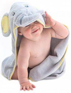 Little Tinkers World Serviette à capuchon pour bébé éléphant - 100% coton bébé serviette de bain - parfait cadeau fête d'anniversaire - les nouveau-nés ou les nourrissons filles et garçons de la marque Little-Tinkers-World image 0 produit