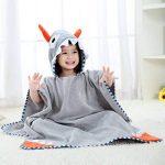 LONTG Enfant Serviette de Bain à Capuche Cartoon Peignoir de Bain en Coton Doux Confortable Drap de Bain Motif Animal Bébé Sortie-de-Bain Serviete de Piscine/Plage Grenouillère Convient au 0-6ans de la marque LONTG image 2 produit