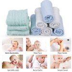 Lot de 5 débarbouillettes en coton mousseline pour bébé - lingettes en coton naturel en mousseline, cadeau de shower de bébé doux pour le visage du bébé nouveau-né (30x30cm) de la marque YIQI image 3 produit