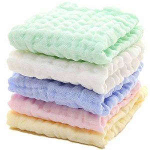 Lot de 5 débarbouillettes en coton mousseline pour bébé - lingettes en coton naturel en mousseline, cadeau de shower de bébé doux pour le visage du bébé nouveau-né (30x30cm) de la marque YIQI image 0 produit
