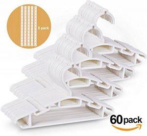 Lot de 60 Cintres Vêtements de Enfants en Plastique de Stockage Cintres pour la Longueur de 30cm en Blanc avec 5 Chaînes de Cintres en Plastique de la marque ilauke image 0 produit