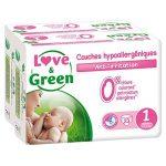 Love & Green - Couches Bébé Hypoallergéniques 0% - Taille 1 (2-5 kg) - Lot de 2 x 23 couches (46 couches) de la marque Love-Green image 1 produit