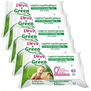 Love & Green Lingettes Hypoallergéniques Fleur d'Oranger Bio 64 Pièces - Lot de 5 de la marque Love-Green image 0 produit