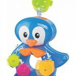 LUDI - Un grand pingouin pour jouer à l'heure du bain. Dès 12 mois. Fixations ventouses. Coffret de jeux d'eau : moulins, verres gigognes percés, coupelle et 3 petits pingouins - réf. 2240 de la marque Ludi image 1 produit
