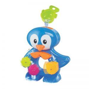 LUDI - Un grand pingouin pour jouer à l'heure du bain. Dès 12 mois. Fixations ventouses. Coffret de jeux d'eau : moulins, verres gigognes percés, coupelle et 3 petits pingouins - réf. 2240 de la marque Ludi image 0 produit