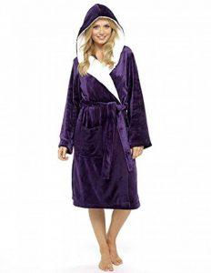 Luxury Dressing Gown Mesdames Robe Super Douce avec Fourrure Doublée À Capuche en Peluche Peignoir pour Les Femmes-Cadeau Parfait de la marque CityComfort image 0 produit