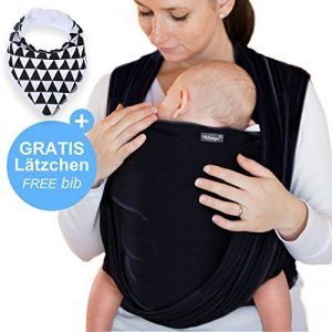 Makimaja - Écharpe de portage noir - porte-bébé de haute qualité pour nouveau-nés et bébés jusqu'à 15 kg - en coton doux - incl. sac de rangement et bavoir bébé de la marque Makimaja image 0 produit