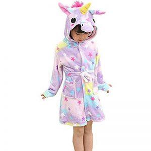 Mallalah Peignoir Licorne pour Filles Garçons Flanelle Pyjamas Chemises de Nuit De Dessin Animé Animal Domestique À Capuche de la marque Mallalah image 0 produit