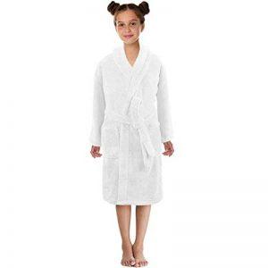 Mamum Peignoir pour Enfants Petit Garçon Fille avec Capuche Coton Robe de Chambre Serviette Doux Éponge de Coton 3-12 Ans (Blanc, S) de la marque Mamum image 0 produit