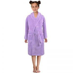 Mamum Peignoir pour Enfants Petit Garçon Fille avec Capuche Coton Robe de Chambre Serviette Doux Éponge de Coton 3-12 Ans (Violet, L) de la marque Mamum image 0 produit