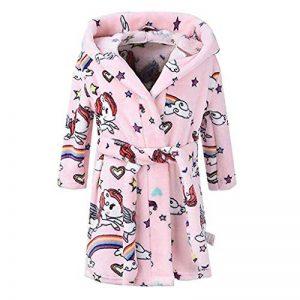 Mamum Robe de Chambre en Flanelle Bébé Garçon Fille Automne Hiver Peignoir de Bain avec Capuche Animal Vêtement de Nuit Enfant Cartoon Mignon Pyjama 1-8 ans 6 Styles (56 Rose, 120(3-4Ans)) de la marque Mamum image 0 produit