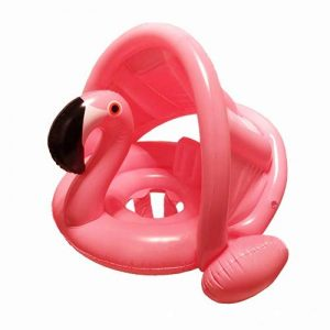 mciskin Flamant Flotteur de Piscine pour bébé avec auvent,Bouée Siège Gonflable Piscine Gonflable Enfant Bébés 6 - 48 Mois Baignoire Piscine PVC Matériel(Rose) de la marque mciskin image 0 produit