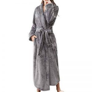 MCYs Peignoir Long Polaire Femme Homme Unisexe Couple Pyjama Kimono Robe de Chambre Manche Longue Bathrobe Nightgown Vêtements de Nuit pour Hotal Spa Homewear Romper Sleepsuit de la marque MCYS image 0 produit