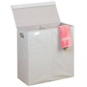 mDesign panier à linge pliable – sac pour lessive avec motif en chevron – pour salle de bain, chambre d'enfant ou chambre à coucher – trieur de linge sale avec 2 compartiments de tri – taupe/nature de la marque mDesign image 0 produit