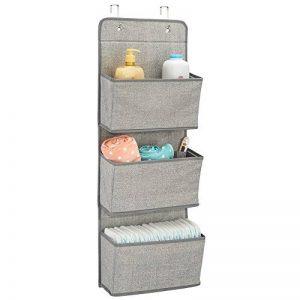 mDesign étagère de rangement avec 3 compartiments – meuble de rangement en tissu pour peluches, couches ou serviettes de bain – organiseur de chambre d'enfant à suspendre – couleur : gris de la marque mDesign image 0 produit