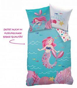 Mermaid Magic Moments Parure de lit en Flanelle pour Fille avec Motif réversible 80 x 80 cm et Housse de Couette 135 x 200 cm 100% Coton de la marque Matt-Rose image 0 produit