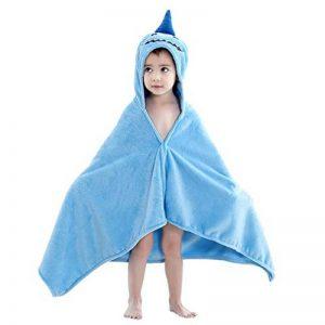 MICHLEY serviette de bain bebe, 100% coton naturel 60x120 cm couverture bebe cadeau naissance, drap de bain pour 0-5 année enfant, requin de la marque MICHLEY image 0 produit