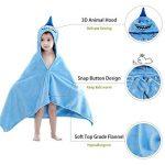 MICHLEY serviette de bain bebe, 100% coton naturel 60x120 cm couverture bebe cadeau naissance, drap de bain pour 0-5 année enfant, requin de la marque MICHLEY image 2 produit