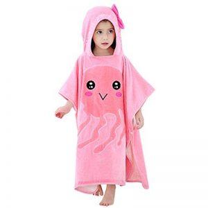 MICHLEY serviette de bain bebe, 70x70 cm Coton cape de bain pour les enfants de 2-6 ans, Méduse rose de la marque MICHLEY image 0 produit