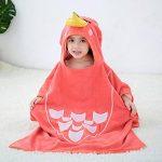MICHLEY serviette de bain bebe, 70x70 cm Coton cape de bain pour les enfants de 2-6 ans, oiseau rouge de la marque MICHLEY image 1 produit