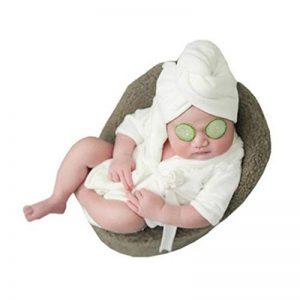 Mignonne Unisexe Nouveau-né Peignoir avec Serviette Bain Douche Piscine pour 0-6 mois Accessoires de Photographie (Blanc) de la marque Himom image 0 produit
