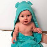 Minene enfants bébé Serviette de bain à capuche Tablier avec ours oreilles, 70x 70cm, Aqua de la marque Minene image 1 produit