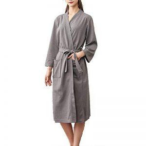 Mini Balabala Robe de Chambre Kimono Tissage Gaufré Femme Coton Waffle Peignoir de Bain Légère col V Unisexe Pyjama pour l'hôtel Spa Sauna Vêtements de Nuit de la marque Mini-Balabala image 0 produit