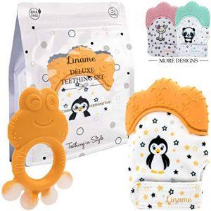 Mitaine de Dentition Liname pour Bébés avec Jouet de Dentition - Gant de Dentition sûr (sans BPA), Lavable et Durable (Teething Mitten) de la marque Liname image 0 produit
