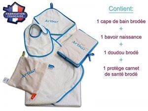Modulit - Coffret naissance personnalisé 4 pièces! Cape de bain + Bavoir + Protège carnet de santé + Doudou (Bleu) de la marque MODULIT image 0 produit